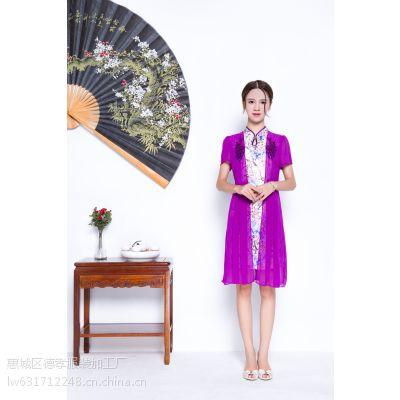 惠州唐夫人一件代发新款夏季雪纺绸缎旗袍订货连衣裙修身显瘦立体剪裁唐夫人自产自销M/L两码