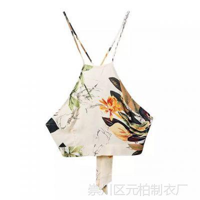 2015夏季新款 欧美女装 人棉印花吊带上衣高腰半身长裙套装 LFYZ