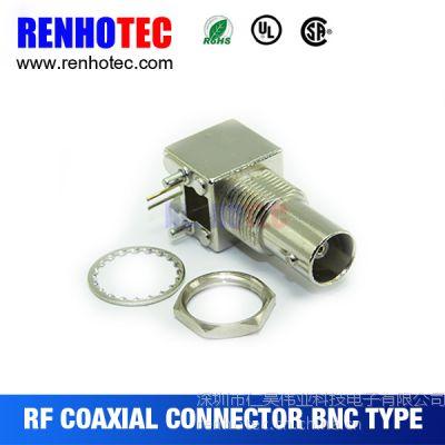 PCB板端90度全金属BNC视频连接器 光端机BNC射频插座