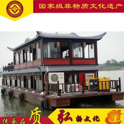 山东河北大型景区客船合作木船厂家定制休闲餐饮画舫木船