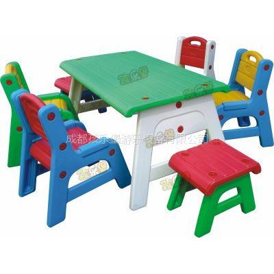 孩乐堡6岁幼儿园课桌椅儿童手工桌可升降塑料游戏桌培训班学习彩色餐桌