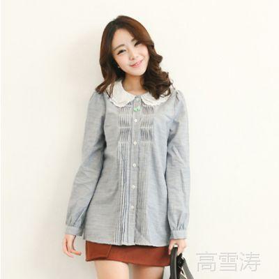 2015春装新款女装韩版长袖衬衫多层绣花荷叶领女学生衬衣 U121