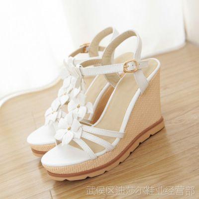 夏季爆款清仓凉鞋甜美EVA鞋底白色现货女式坡跟凉鞋高跟女凉鞋夏