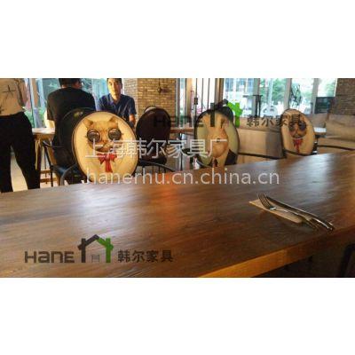 供应复古咖啡厅桌椅 圆形咖啡桌 老榆木咖啡桌 上海韩尔家具厂