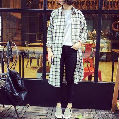 2016秋季新款韩版复古格子宽松中长款开叉长袖衬衫休闲外套女批发