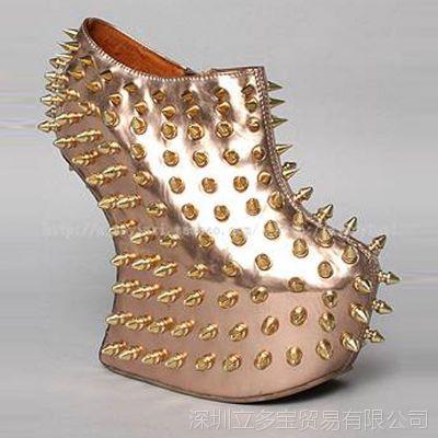 2015欧美风原创高端定制异形跟单鞋时尚高跟鞋金属夜店铆钉单鞋