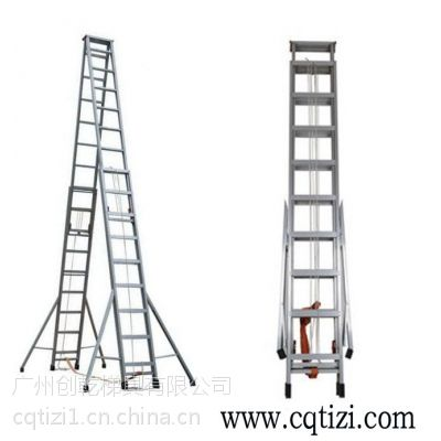 逃生梯 伸缩 东莞手动伸缩人字梯子7米 广东创乾伸缩梯厂家 路灯维修梯子