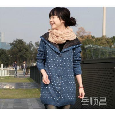 春季新款韩国加绒加厚毛衣韩版外套女针织衫女大衣学院风开衫宽松