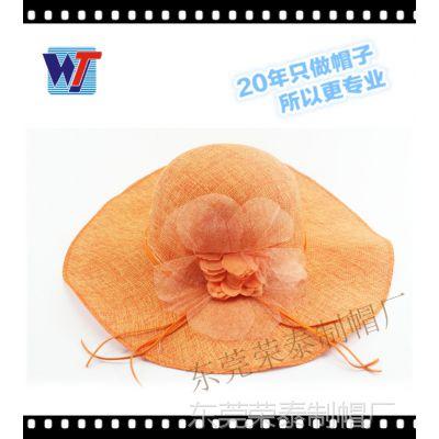 厂家定做麻纱帽外贸出口高档大檐帽时尚名媛定型帽欧美英伦公主帽