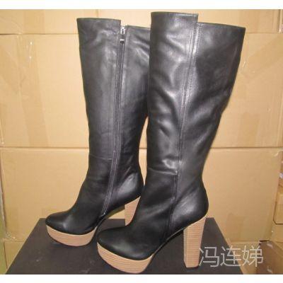 鞋厂来样定制欧美时尚外贸女靴 粗跟中筒靴 高跟时装真皮女靴批发