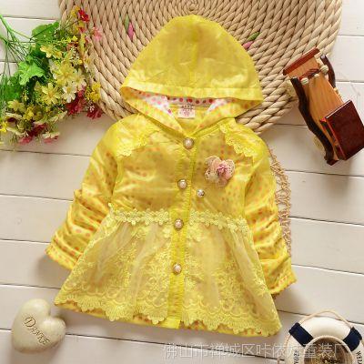 2015春款童装外套 韩版波点连帽女童风衣 纯棉蕾丝送胸花女童外套
