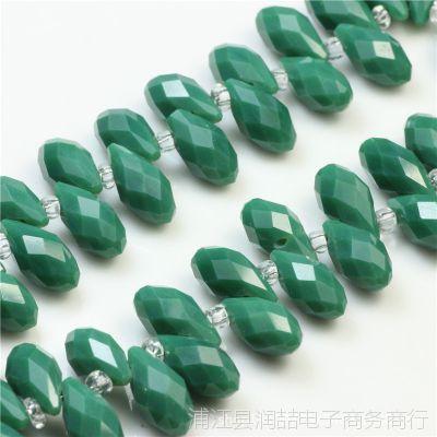 仿瓷料玉料6*12水滴玻璃珠 水晶珠子diy鞋服珠饰材料
