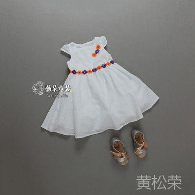 外贸原单童装批发 女童连衣裙 拼色花朵 女孩儿白色裙子
