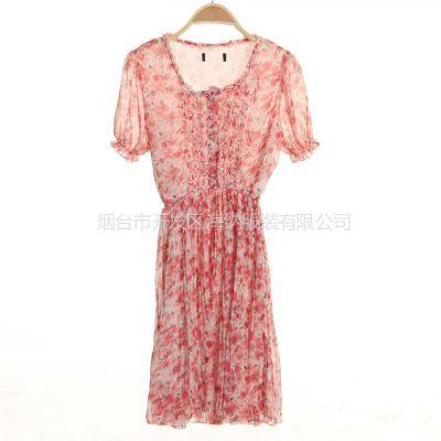 供应2013夏季新款女式短袖t恤 大理女士雪纺碎花连衣裙批发