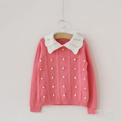 3217外贸童装  女童  纯色娃娃领勾花针织衫 毛衣 F0308-27