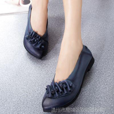 妈妈鞋中老年春秋牛皮女单鞋真皮鞋平跟浅口平底女式休闲女鞋子