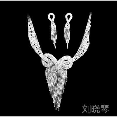 M001速卖通欧美时尚水晶镀银项链 耳环新娘婚礼珠宝的女人