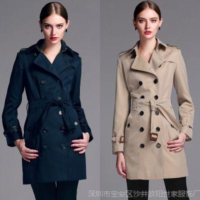 秋冬品牌B家中长款女式英伦风衣 翻领双排扣女士长袖大衣修身外套