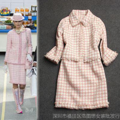 2014秋冬女装批发 走秀款小香翻领七分袖格子外套+背心裙套装