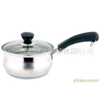 供应不锈钢奶锅 煮奶壶 咖啡煮壶 复合底单柄锅16CM
