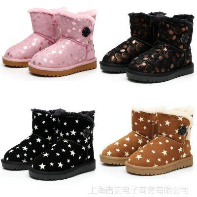 2015冬季新款婴儿鞋批发 儿童雪地靴男童女童真皮一件代发
