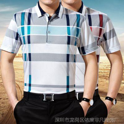 2015夏装新款梦特娇短袖t恤男 正品中年男士翻领格子衫桑蚕丝T恤