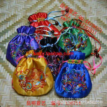 民族风特色布艺绣花喜果糖包小锦囊包零钱硬币包 珠宝首饰袋