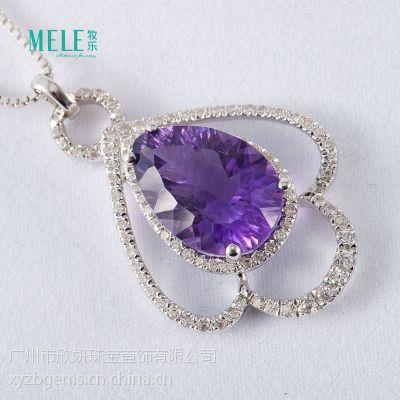 牧乐珠宝天然水晶半宝石南非紫晶925纯银潮流时尚女式锁骨链项坠