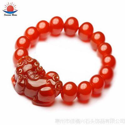AAA级天然红玛瑙 貔貅手链 DIY饰品串珠配件 厂家批发直销
