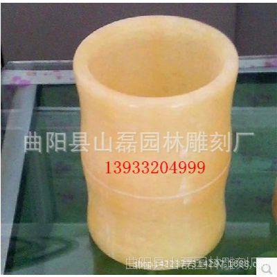 厂家加工特价直销笔筒 石雕米黄笔筒 工艺品