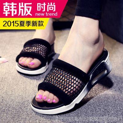 Miss'Xia 2015真皮拖鞋坡跟气垫厚底凉拖鞋透气网纱运动休闲拖鞋