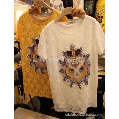 供应韩国进口女装新款时尚拼贴皇冠猫头鹰钉珠短袖蕾丝衫打底衫 2B31