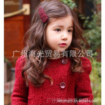 秋冬新款kidsmac韩版女童批发时尚双排扣双兜长款外套风衣HG12172