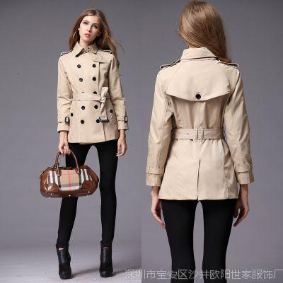 2014秋冬季热卖品牌B家短款女式风衣外套 修身女士翻领长袖大衣