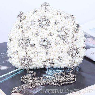 晚宴包镶钻 新款珠绣包纯手工珍珠女士手拿包晚装包批发外贸原单