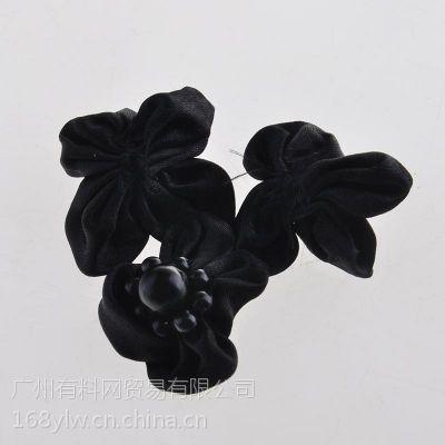 特种花边 黑色烫钻小花黑色花边服饰辅料
