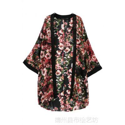 LA.F-6652#-AS-RP  时尚欧美风富贵印花中长款雪纺和服外套
