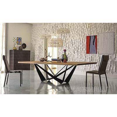 美式复古铁艺实木餐桌椅组合长方形饭桌北欧仿古家具餐厅咖啡桌椅