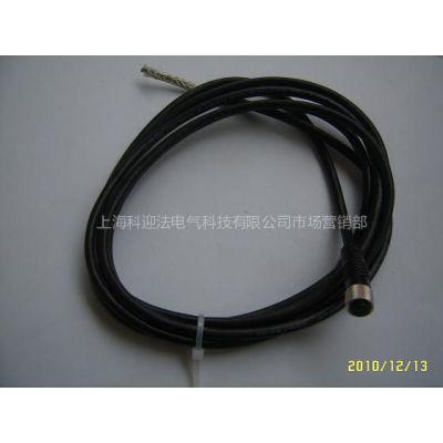供应M8三针三孔直型带电缆(屏蔽)连接器推荐、电缆连接器、分线盒