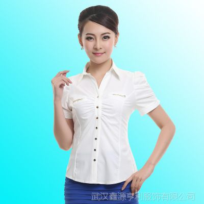 新款夏装短袖 OL职业衬衫 商场导购女士衬衣 酒店前台收银工作服