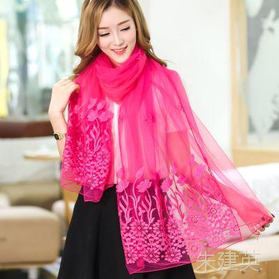 秋季女士韩版大纱巾披肩雪纺围巾 时尚休闲绣花双层雪纺围巾