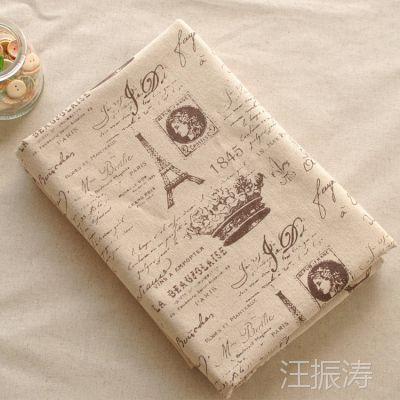 新品 家居铁塔皇冠图案棉麻布料 棉麻桌布窗帘用面料