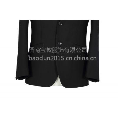 宝敦服饰 男士西装 男士正装 黑色两粒扣西服 男士职业装套装