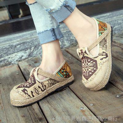 手工森林系学院民族风麻绳编织娃娃女鞋圆头麻布鞋平底女单鞋代发