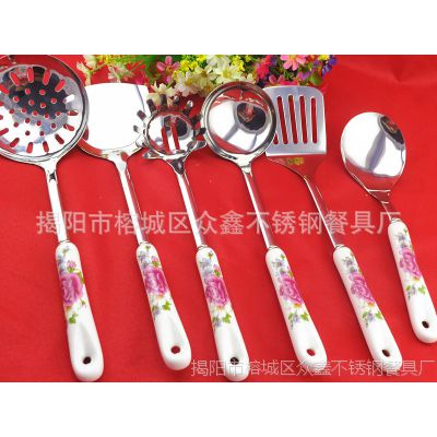 春季热销陶瓷厨具 单支不锈钢漏勺 韩式厨具 不锈钢餐具厂家批发