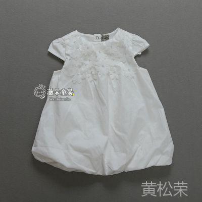 外贸原单童装批发 女童连衣裙 女孩儿爆款白色裙子