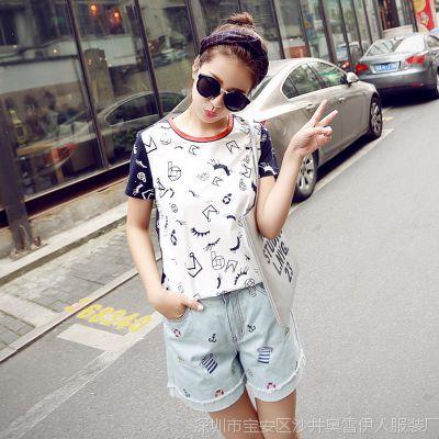 2015夏季新款韩版前后撞色印花女T恤 姐妹学生修身短袖女T恤衫潮