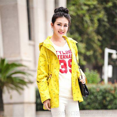批发2014年秋冬新款女装 韩版中长款女式风衣大衣 学生外套 潮