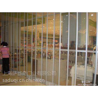 上海松江供应商场透明水晶折叠门,水晶侧拉门厂家