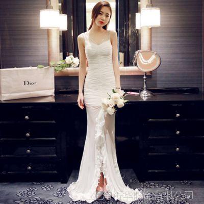 夏季新款女韩版性感仙女范订珠鱼尾连衣裙伴娘结婚礼服写真服